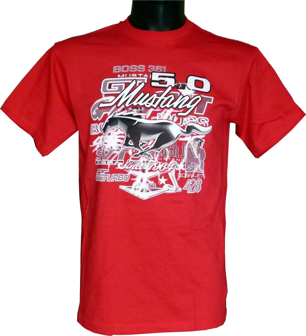 mustang t shirt collage red us car und nascar. Black Bedroom Furniture Sets. Home Design Ideas
