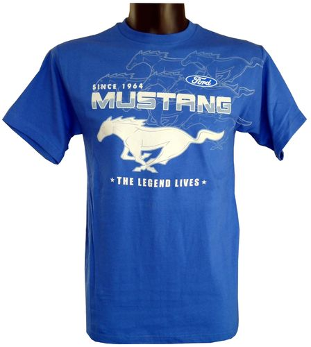 "Mustang T-Shirt ""Collage"" - royalblau"