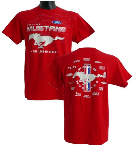 "Mustang T-Shirt ""Collage"" - red"