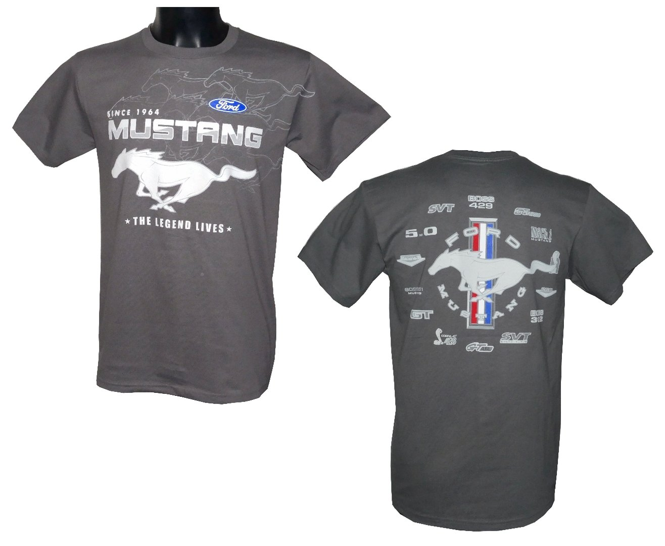 mustang t shirt collage grau us car und nascar. Black Bedroom Furniture Sets. Home Design Ideas
