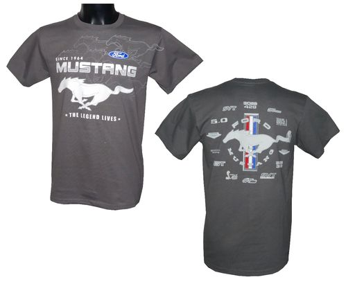 "Mustang T-Shirt ""Collage"" - grau"