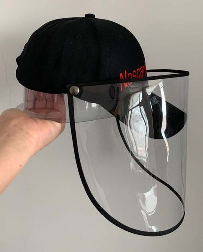 Basecap with face shield.